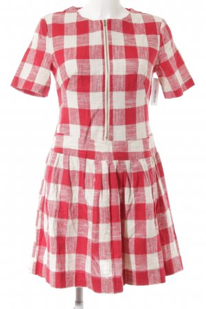 Pepaloves Kurzarmkleid wollweiß-rot Karomuster Vintage-Look