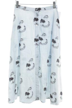 Pepaloves Midirock himmelblau-grau Motivdruck Vintage-Look