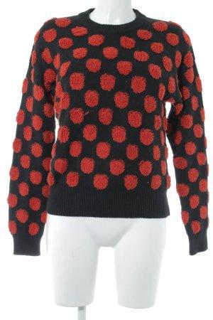 Pepaloves Rundhalspullover schwarz Punktemuster Street-Fashion-Look