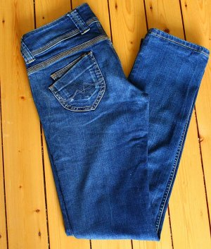 Pepe Jeans Low-Rise Trousers blue cotton