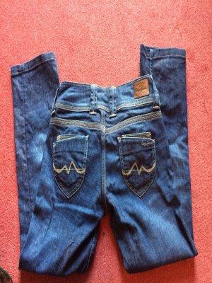 Jeans a 7/8 blu scuro-blu acciaio