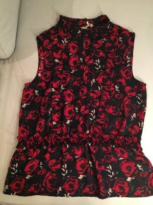 PEPE JEANS Ärmellose Bluse mit Rosen und Rüschen, Gr. XL, NEU und ungetragen