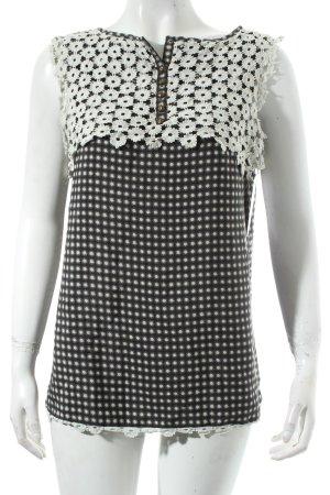 Pepe Jeans ärmellose Bluse schwarz-weiß abstraktes Muster klassischer Stil