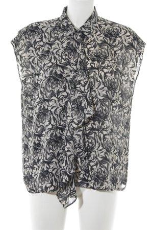 Pepe Jeans ärmellose Bluse schwarz-wollweiß florales Muster Elegant