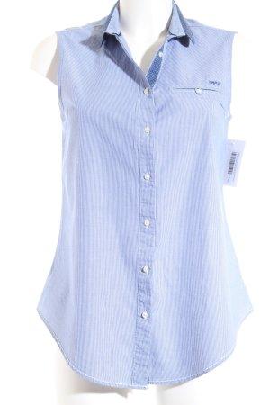 Pepe Jeans ärmellose Bluse weiß-blau Punktemuster klassischer Stil