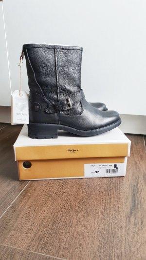 Pepe Jeans Biker Boots 37 Agra Solid Leder schwarz Schnalle Stiefel
