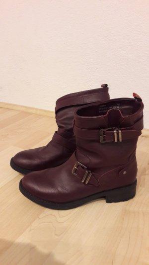 Pepe Jeans Biker Boots Stiefeletten Pimlico weinrot rotviolett brombeerrot Gr. 36