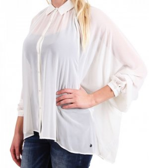 PEPE Jeans Bluse, creme, Gr. M, Oversize, transparent, NEU