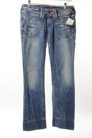 Pepe Jeans Boot Cut Jeans kornblumenblau-wollweiß abstraktes Muster Used-Optik