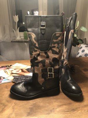 PEPE Jeans Boots, Camouflage, Leder, Profilsohle, Gr. 37, neuwertig