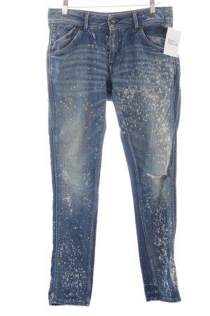 Pepe Jeans Boyfriendjeans dunkelblau-weiß Farbtupfermuster Used-Optik