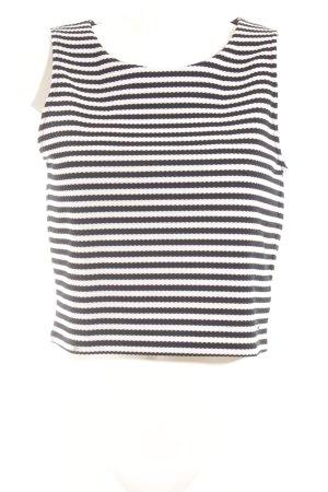 Pepe Jeans Top corto bianco-blu scuro motivo a righe stile casual