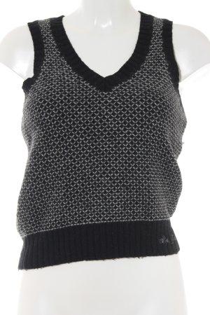 Pepe Jeans Feinstrickpullunder schwarz-grau Zackenmuster Casual-Look