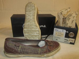 PEPE JEANS: Flacher Schuh Stoff-Leder-Mix, Gr. 38, NEU