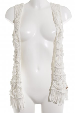 Pepe Jeans Fringed Vest white loosely knitted pattern beach look