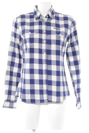 Pepe Jeans Hemd-Bluse blau-wollweiß Karomuster Casual-Look