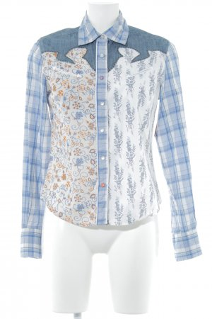 Pepe Jeans Hemd-Bluse Blumenmuster Materialmix-Look