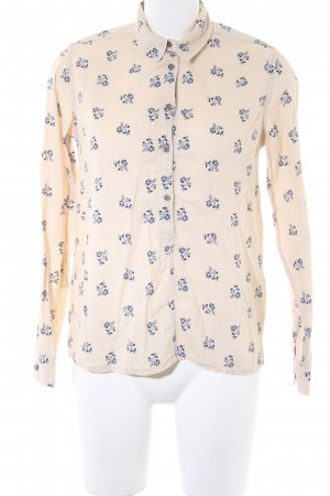Pepe Jeans Hemd-Bluse creme-dunkelblau Allover-Druck Casual-Look