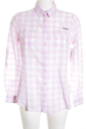 Pepe Jeans Hemd-Bluse weiß-rosa Karomuster klassischer Stil