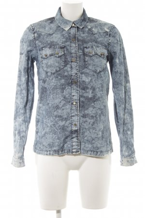 Pepe Jeans Denim Shirt slate-gray-pale blue floral pattern country style