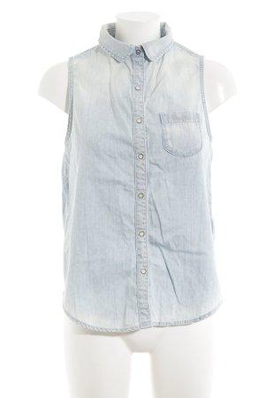 Pepe Jeans Chaleco de tela vaquera azul claro estampado a lunares look casual