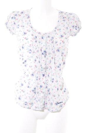 Pepe Jeans Kurzarm-Bluse weiß Blumenmuster extravaganter Stil