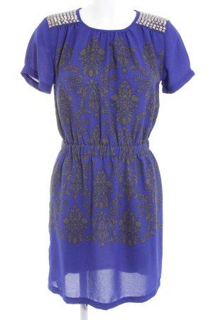 Pepe Jeans Kurzarmkleid grau-blau florales Muster extravaganter Stil