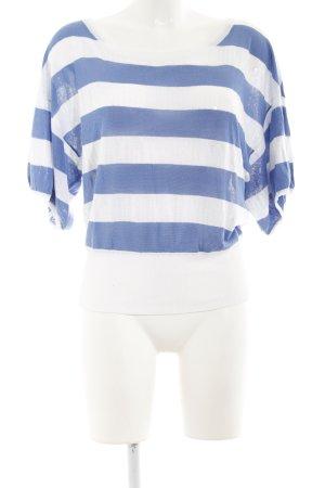 Pepe Jeans Maglione a maniche corte bianco-blu acciaio motivo a righe