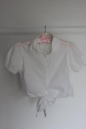 Pepe Jeans Kurzbluse mit Spitze zum Binden in Weiß
