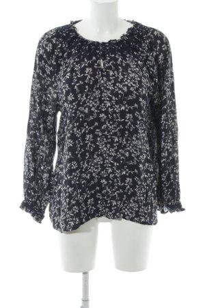 Pepe Jeans Langarm-Bluse dunkelblau-creme florales Muster Casual-Look