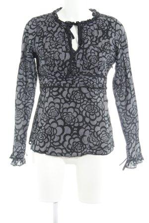 Pepe Jeans Langarm-Bluse grauviolett-schwarz Blumenmuster Casual-Look
