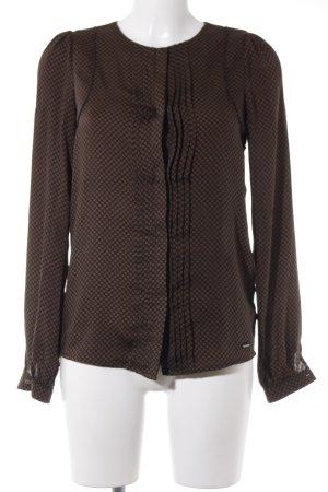 Pepe Jeans Langarm-Bluse schwarz-braun florales Muster Business-Look