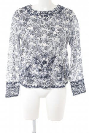 Pepe Jeans Langarm-Bluse weiß-dunkelblau Blumenmuster Romantik-Look