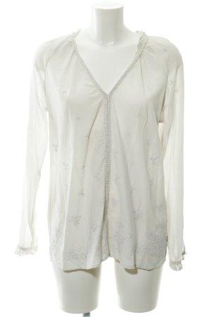 Pepe Jeans Langarm-Bluse weiß florales Muster Boho-Look