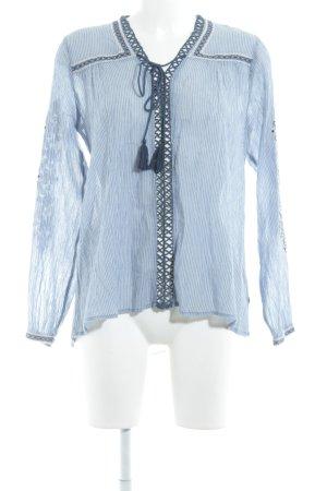 Pepe Jeans Langarm-Bluse weiß-himmelblau Streifenmuster Beach-Look