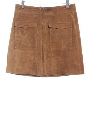 Pepe Jeans Falda de cuero marrón estilo country