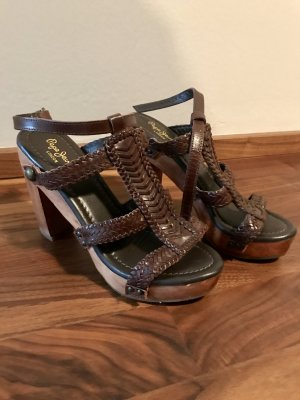 Pepe Jeans London High Heel Sandal brown leather