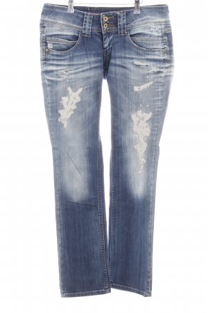 Pepe Jeans London Low Rise jeans blauw-wit casual uitstraling
