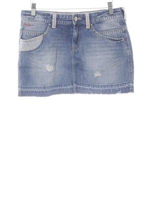 Pepe Jeans London Jupe en jeans bleu acier style déchiré