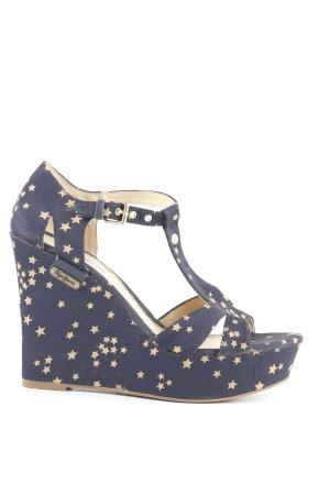 Pepe Jeans London Keil-Pumps dunkelblau-hellgelb Sternenmuster Elegant