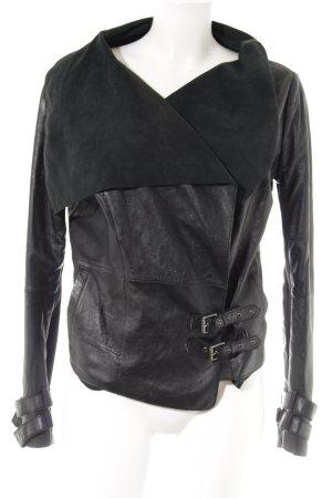 Pepe Jeans London Lederjacke schwarz Biker-Look