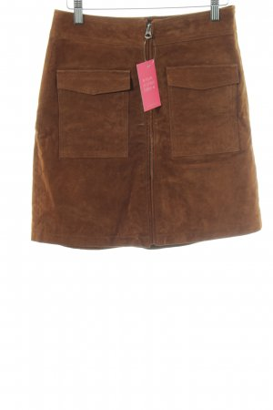 Pepe Jeans London Leather Skirt brown simple style