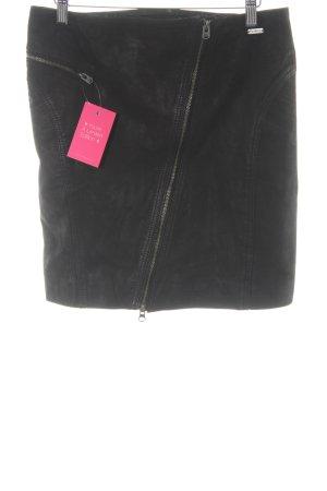 Pepe Jeans London Falda de cuero negro elegante