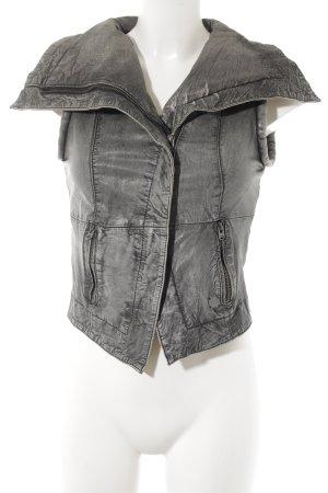Pepe Jeans London Lederweste dunkelgrau-hellgrau Biker-Look