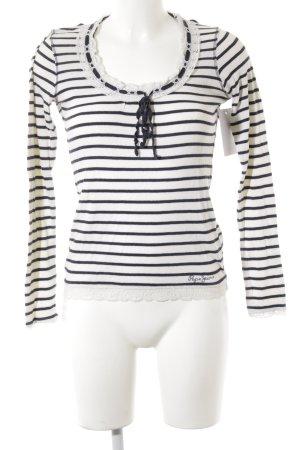 Pepe Jeans London Ribbed Shirt natural white-dark blue striped pattern