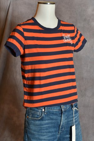 PEPE Jeans London S/36 Ringelshirt Blau Orange Kurzarm Streifenshirt gestreift