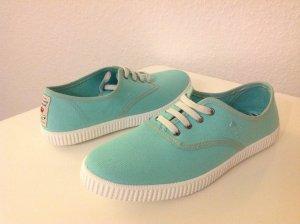 PEPE JEANS LONDON Schuhe SNEAKERS Turnschuhe Sommer Leinenschuhe NEU 38 Türkis, gebraucht gebraucht kaufen  Wird an jeden Ort in Deutschland