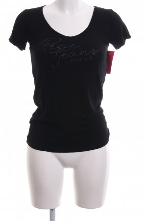 Pepe Jeans London T-Shirt schwarz Schriftzug gedruckt Casual-Look