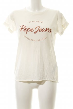 Pepe Jeans London T-Shirt hellgelb-rostrot Schriftzug gedruckt Casual-Look