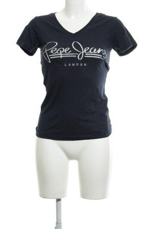 Pepe Jeans London V-hals shirt donkerblauw gedrukte letters casual uitstraling